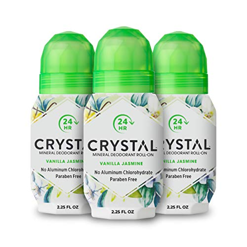 Crystal Deodorant Essence Roll-On 2.25 Ounce Vanilla Jasmine (66ml) (3 Pack)