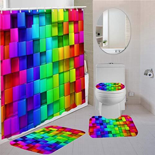 Yuaobeimei Bunter Batik-Duschvorhang, abstrakter Regenbogen-Würfel, ziegelähnlich, geometrisch, 4-teiliges Badezimmer-Set mit Matte, Teppichen, 3D-Vorhangstoff, Bad-Dekor