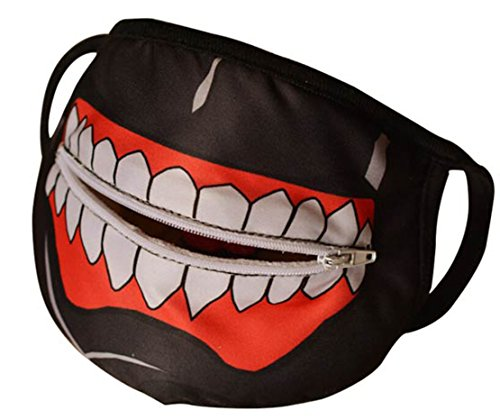 Life Star Tokyo Ghoul Kaneki Ken Cosplay Adjustable Mask (Zipper Masks Black)
