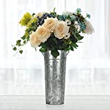 """YoleShy 15"""" High Galvanized Vase with Handles, Tall Farmhouse Bucket for Fresh & Dried Floral Arrangements - Rustic Decorated for Wedding and Home (Flowers Not Included)"""