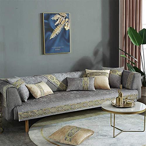 L&B-MR Funda de sofá antideslizante para sofá, tela jacquard, protector de muebles para perros, color gris, tamaño: 110 x 110 cm