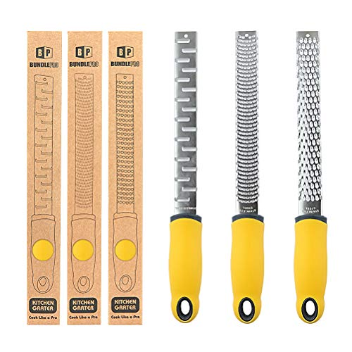 Pack of 3 Cheese Grater,Stainless Steel Lemon Zester with Non-Slip Ergonomic Handle,Dishwasher Safe Kitchen Tools for Grating Chocolate, Ginger, Citrus, Garlic,Nutmeg,Vegetables and Fruits (YELLOW)