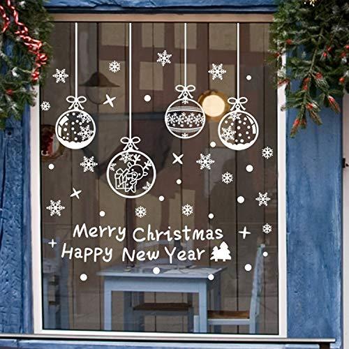 jeeri - Set di 4 Adesivi Natalizi con Fiocchi di Neve, Adesivi Natalizi per Finestra, riutilizzabili, Adesivi per finestre, in PVC