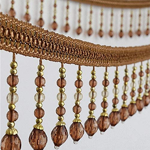 EMDOMO 5yards Braided Beads Hanging Ball Tassel Fringe Trimming Applique Fabric Trimming Ribbon Band Curtain Table Wedding Decorated T2582 (2583 Coffee)