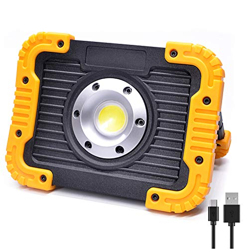 ODISTAR 20W LED Rechargeable Work Light,Portable Cordless Hand Held Shop Light with Stand,3 Modes Flood Emergency Light,Built-in 4400MA Lithium Battery Power Bank,for Construction Site