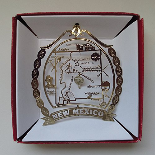 New Mexico Brass Christmas Ornament Souvenir by Nations Treasures