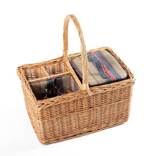 Greenfield Collection (WH013) Deluxe Regatta Picknickkorb für 2Personen, Weide, Futter in Royal Rot, Grün und Blau
