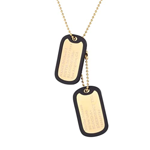 Mens Gold Dog Tags: Amazon com