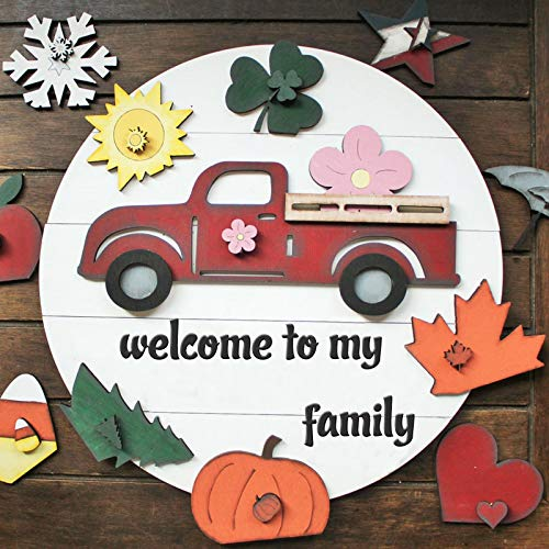 WakeDay Door Hanger Welcome Sign Wooden, Interchangeable All Seasons Welcome Sign Deocrations Rustic Farmhouse Front Door Hanging Ornaments with DIY Replaceable Accessories Sets Novelty Gifts