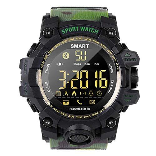 YLKCU Reloj Deportivo Inteligente Relojes Militares multifunción para Exteriores 50M Reloj de Pulsera Bluetooth Impermeable con Contador de Pasos Calorías Cronómetro Llamada SMS Recordat