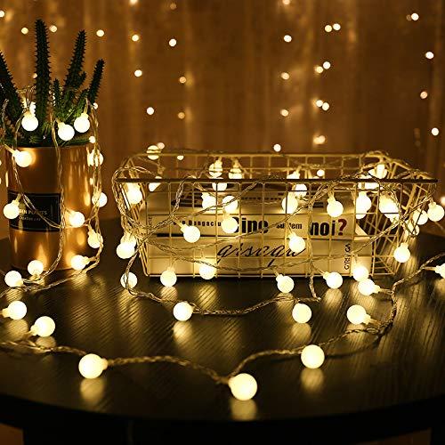 Creatieve led-lichtsnoer, kerstverlichting, kleurrijke bollampen, kleurrijke led-lichtketting, decoratief, wit, 20 batterij-hoezen 3 meter
