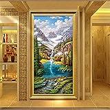 DIY Diamond Painting Kits Talla Grande,Bosque Cascada Montaña Nevada Pintura de Diamante 5D Completo Set Crystal bordado de punto de cruz artes for Home Wall Decor Gifts Square Drill-28x56in
