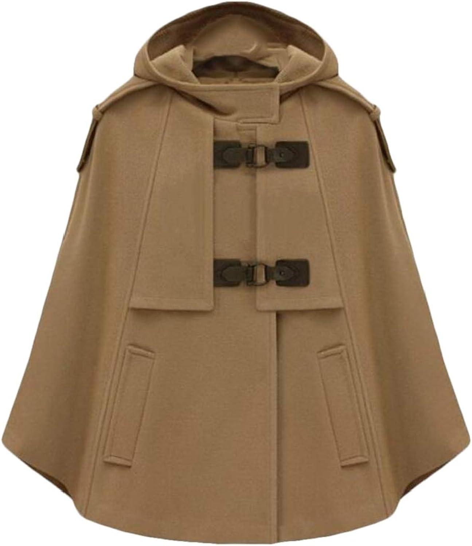 CRYYU Women Shawl Stylish Poncho Cape Hooded Overcoat Stand Collar Pea Coat