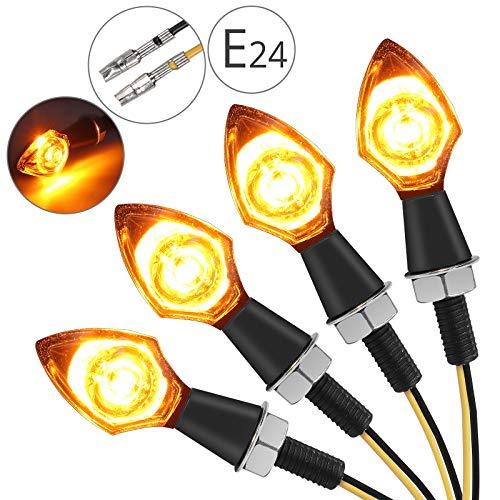 Justech 4stk 12V LED Microblinker Miniblinker Blinker Licht Motorrad mit E-Prüfzeichen M8 Lauflicht Bernstein Tagfahrlicht wasserdichte Blinkleuchte Signal Leuchte - Transparente