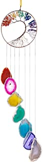SUNYIK Tree of Life Agate Slice Wind Chime, Handmade 7 Chakra Stone Healing Crystal Wind Chime for Indoor Outdoor Decoration Ornament 28-30'', 7 Chakra