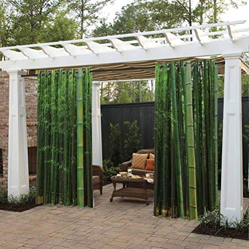 crabee Bamboo Cabana Curtain Protect You from Sun/Rain Picture of a Bamboo Forest Exotic Fresh Jungle Vision with Tall Shoots Tropic Art Print Green
