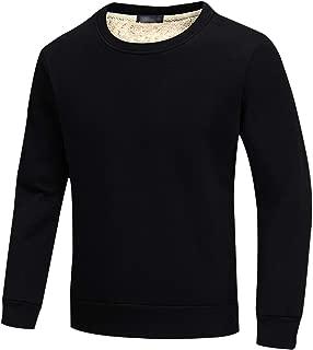 Men's Warm Crewneck Sherpa Lined Fleece Sweatshirt Pullover Tops
