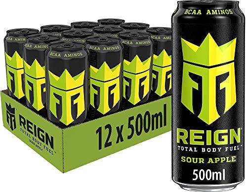 REIGN Sour Apple, 12x500 ml, Einweg-Dose, Performance Energy Drink mit BCAA, L-Arginin, B-Vitaminen und natürlichem Koffein