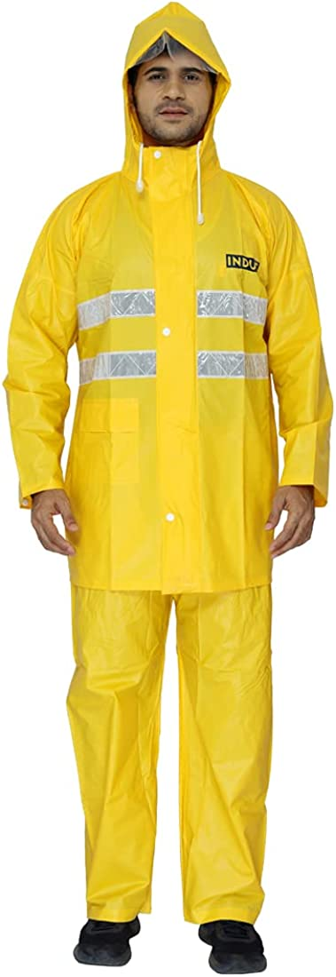 The Clownfish Industrial Series Men's PVC Waterproof Safety Raincoat with Hood and Reflectors in Top. Set of Top and Bottom. For Bikers Night Traveling (Yellow, XX-Large)