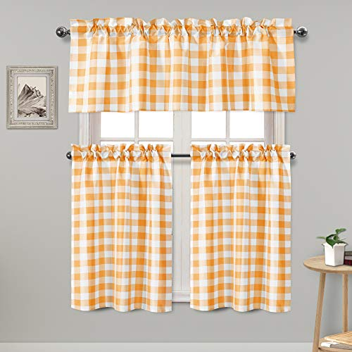 Hiasan 3 Piece Semi Sheer Kitchen Curtains Light Filtering Buffalo Checkered Tier and Valance Window Curtains Set, Orange Yellow and White