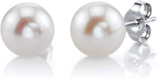 THE PEARL SOURCE 14K Gold 7-8mm AAAA Quality Round Freshwater Cultured Pearl Stud Earrings for Women