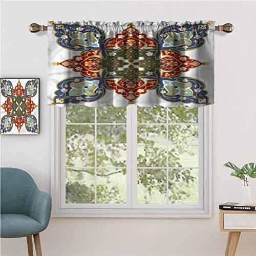 Hiiiman Short Valance Curtains Light Blocking Turkish Ottoman Arabic, Set of 2, 54'x24' Window Curtain Drapes for Living Room