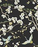 Papel pintado Sublime Japón Negro Floral y Fauna Tropical