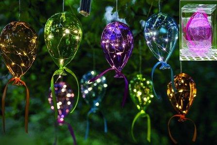 Bunter LED Ballon aus Glas (orange 19cm)