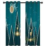 Epinki Cortinas Ciervos Luna con Estrellas Azul Poliester Cortinas de Habitacion Juvenil, Disponible en 21 Tamaños, Talla 264x183CM