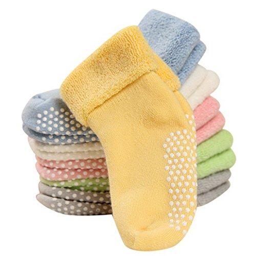 FEOYA- 1-3 Jahre Baumwolle Babysocken Dick Warm Babysöckchen Herbst Winter Kindersocken Gepunkte Kinder Socken Set 6 Paar Verschidene Farben