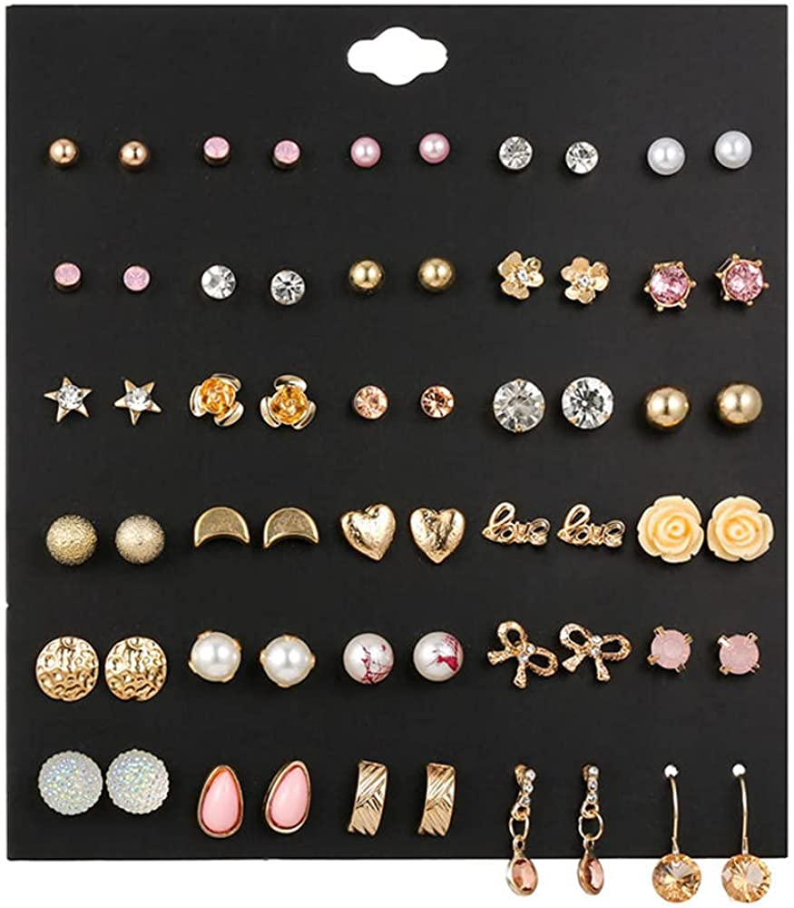 Ladies Earringsbow Love Heart Same day shipping Diamond 版 30 Earrings Cheap super special price Flowers