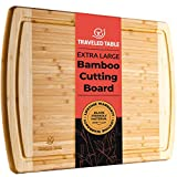 Bamboo Cutting Board - Extra Large Wooden 18 x 12 Inch Wood Cutting Boards for Kitchen with Juice Drip Groove - Best Organic Bamboo Chopping Board For Eco-Friendly Cooking