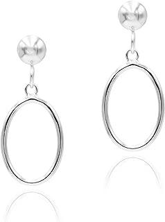 Sterling Silver Open Oval Drop Dangle Hoop Earrings 5mm Bead Post Dangle Earrings for Women Girls