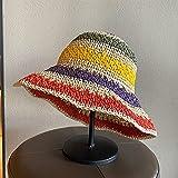 WDSZLH Sombreros de Paja de Tejido a Rayas arcoíris para Mujer, Sombreros de Sol Informales al Aire Libre, Sombrero Plegable de Verano con Aleros Grandes, Gorra de Playa