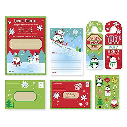 Letter to Santa Kit - for Christmas Write A Letter to Dear Santa Claus - with Envelopes, Stickers and Door Hanger (2 Kits)