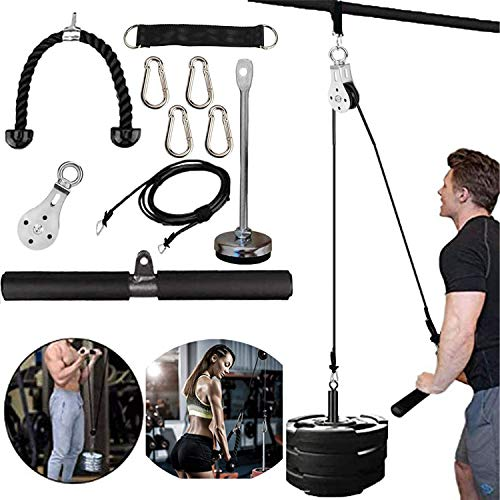 Cable Pulley, Triceps Pulley System for Arm Strength Training, 2Meter DIY Pulley Cable Attachment, Cable Pulley System, for LAT Pulldowns, Biceps Curl, Triceps Extensions Workout Straight Curved