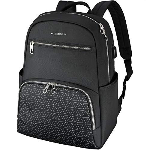 KROSER Stylish Laptop Backpack 15.6 Inch College School Daypack with USB Charging Port, Water-repellent Nylon Computer Backpack Fashion Backpack for Travel/Business/Women/Girls-Black