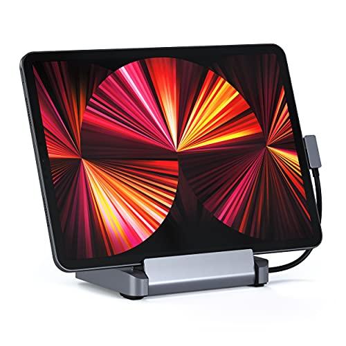 Satechi Soporte y Hub de Aluminio – 6 en 1 Soporte Plegable Hub USB-C – Compatible con 2021/2020/2018 iPad Pro y 2020 iPad Air