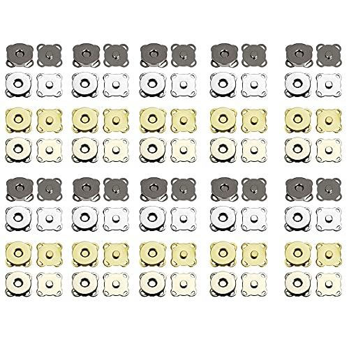 STCRERAG 40 juegos de broches magnéticos para bolso, cierre magnético de botón de 14 mm (4 colores) cierre de bolsa de metal para bolso ropa, cuero, costura, manualidades