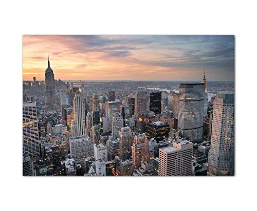 Augenblicke Wandbilder 120x80cm - Fotodruck auf Leinwand und Rahmen New York Skyline Sonnenuntergang - Leinwandbild auf Keilrahmen modern stilvoll - Bilder und Dekoration