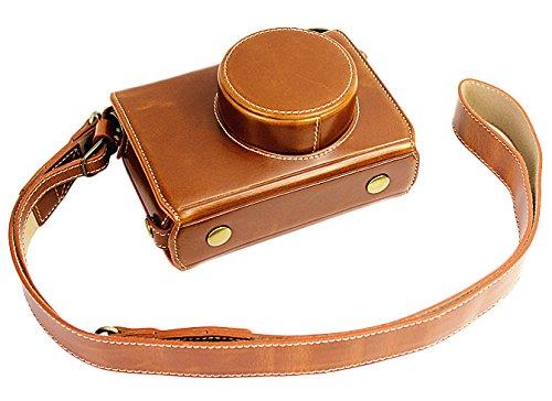 Vollsohlensicherungen Öffnungs Version Schutz-PU-Leder Kamera Tasche mit Stativ-Design-kompatibel für Fuji Fujifilm X100 x 100s X100M x100t mit Schulter-Ansatz-Bügel-Gurt Brown
