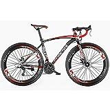 XRQ 26En Adulte Vélo de Route, Hommes Vélo de Course avec Double Disque de Frein, Cadre en Acier au Carbone à Haute Route Vélo, Utilitaire vélo, 27 Vitesses,Rouge