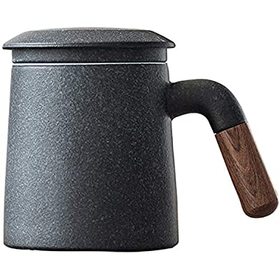 Sandalwood handle Tea Mug, Chinese Ceramic Tea Cup, with Infuser and Lid, 13 oz, Matte Grey