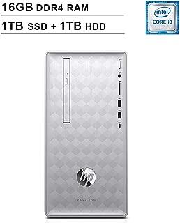 HP 2019 Pavilion 590 Desktop (Intel Quad Core i3-8100 3.6 GHz, 16GB DDR4 RAM, 1TB SSD (Boot) + 1TB HDD SSD, Intel UHD Graphics 630, Bluetooth, HDMI, DVD, Windows 10 Home) (Renewed)