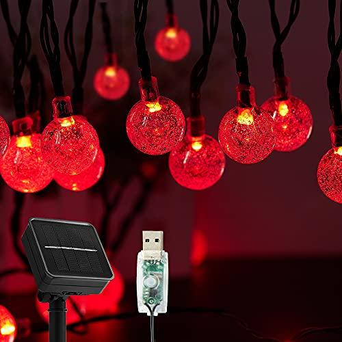 Guirnaldas Luces Exterior Solar,  60LED 11M Luces Solares Led Exterior Jardin con USB energizado por,  8 Modos & Impermeable Cadena de Hadas para Jardín,  Eésped,  Patio,  árbol de Navidad#Rojo#