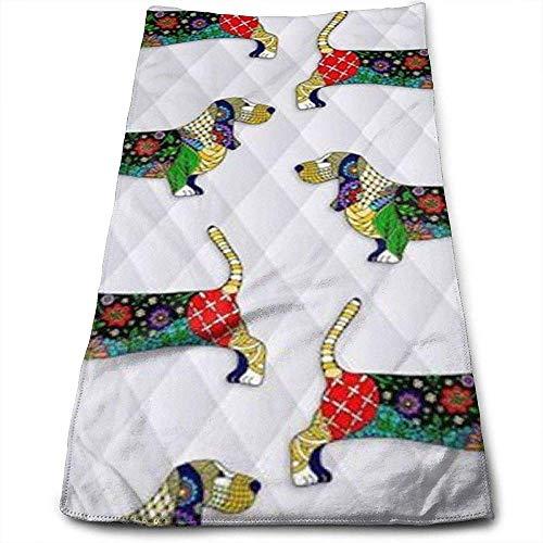 Bert-Collins Towel Jour de la Mort Bassett Hound Personnalité Amusant Motif Serviettes de Toilette Fibre Superfine Super Absorbant Doux Serviettes de Gymnastique
