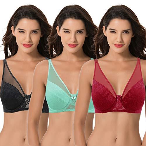 Curve Muse Women's Plus Size Minimizer Unlined Underwire Bra with Floral Lace-3PK-MINT,RED,BLACK-38DDD