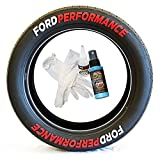 Tire Stickers Ford Performance Permanent Tire Lettering Kit - DIY Rubber Tire Decals with Glue & 2oz Touch-Up Cleaner / 19-21 Inch Wheels / 1.50 Inches/White/Red / 8 Pack