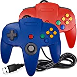 [USB Version] 2 Pack Classic N64 Controller, iNNEXT N64 Wired USB PC Game pad Joystick, N64 Bit USB Wired Game Stick for Windows PC iOS MAC Linux Raspberry Pi (Red/Blue)