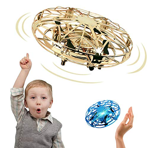 Autmor Mini UFO Drone Flying Toy Hand Operated Quadcopter Drones for Kids or Adults - Hands Free UFO Helicopter with 360° Rotating and Shinning LED Lights Easy Indoor Outdoor for Boys Girls - Gold